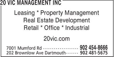 Halifax Shopping Centre (902-454-8666) - Annonce illustrée - Real Estate Development Retail * Office * Industrial 20vic.com 902 454-8666 902 481-5675 Leasing * Property Management