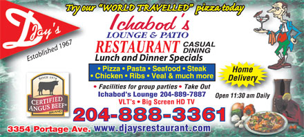 D-Jay's Restaurant Ichabod's Lounge & Patio (204-888-3361) - Display Ad - 204-