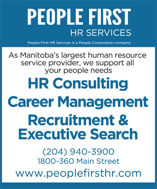 People First HR Services Ltd (204-940-3900) - Annonce illustrée