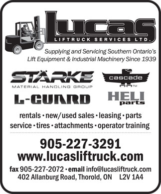 Lucas Liftruck Services Ltd (905-227-3291) - Annonce illustrée