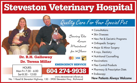 Steveston Veterinary Hospital Ltd (604-274-9938) - Annonce illustrée