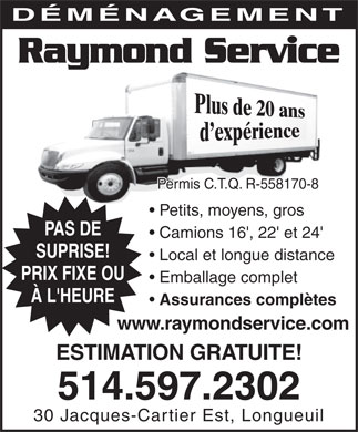 D&eacute;m&eacute;nagement Raymond Service (514-597-2302) - Annonce illustr&eacute;e