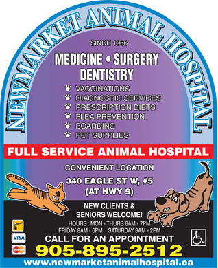 Newmarket Animal Hospital (905-895-2512) - Display Ad - SINCE 1966SINCE 1966 MEDICINE   SURGERYMEDICINE   SURGERY DENTISTRYDENTISY VACCINATIONSACCINATIONS DIAGNOSTIC SERVICESDIAGNOSTIC SERVICES PRESCRIPTION DIETSPRESCRIPTION DIETS FLEA PREVENTIONFLEA PREVENTION BOARDINGARDING PET SUPPLIESPET SUPPLIES FULL SERVICE ANIMAL HOSPITAL CONVENIENT LOCATIONCONVENIENT LOCATION 340 EAGLE ST W, #5340 EAGLE ST W, #5 (AT HWY 9)AT HWY 9) NEW CLIENTS & SENIORS WELCOME! HOURS : MON - THURS 8AM - 7PM FRIDAY 8AM - 6PM   SATURDAY 8AM - 2PM CALL FOR AN APPOINTMENT www.newmarketanimalhospital.ca  SINCE 1966SINCE 1966 MEDICINE   SURGERYMEDICINE   SURGERY DENTISTRYDENTISY VACCINATIONSACCINATIONS DIAGNOSTIC SERVICESDIAGNOSTIC SERVICES PRESCRIPTION DIETSPRESCRIPTION DIETS FLEA PREVENTIONFLEA PREVENTION BOARDINGARDING PET SUPPLIESPET SUPPLIES FULL SERVICE ANIMAL HOSPITAL CONVENIENT LOCATIONCONVENIENT LOCATION 340 EAGLE ST W, #5340 EAGLE ST W, #5 (AT HWY 9)AT HWY 9) NEW CLIENTS & SENIORS WELCOME! HOURS : MON - THURS 8AM - 7PM FRIDAY 8AM - 6PM   SATURDAY 8AM - 2PM CALL FOR AN APPOINTMENT www.newmarketanimalhospital.ca
