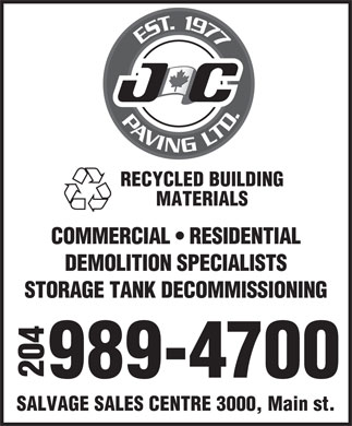 J C Paving Ltd (204-989-4700) - Display Ad