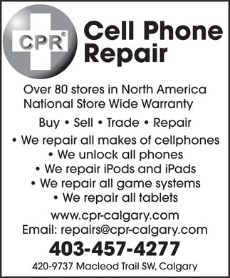 Cell Phone Repair Calgary Ltd (403-457-4277) - Display Ad