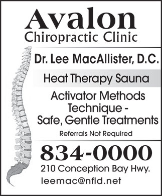 Avalon Chiropractic Clinic (709-834-0000) - Annonce illustr&eacute;e - Heat Therapy Sauna Activator Methods Technique - Safe, Gentle Treatments Referrals Not Required 210 Conception Bay Hwy. leemac@nfld.net