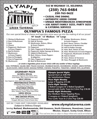 Olympia Greek Taverna (250-765-0484) - Display Ad