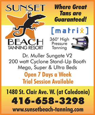 Sunset Beach Tanning Inc (416-658-3298) - Annonce illustr&eacute;e