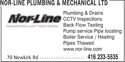 Nor-line Plumbing & Mechanical Ltd (416-233-5535) - Annonce illustrée - Plumbing & Drains CCTV Inspections Back Flow Testing Pump service Pipe locating Boiler Service / Heating Pipes Thawed www.nor-line.com