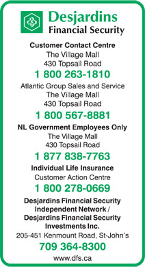 Desjardins Financial Security (1-800-263-1810) - Display Ad