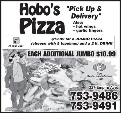 Hobo's Pizza (709-753-9486) - Annonce illustr&eacute;e