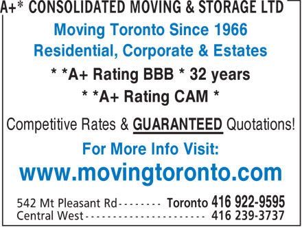 The Box Spot (416-922-9595) - Annonce illustrée - Moving Toronto Since 1966 Residential, Corporate & Estates * *A+ Rating BBB * 32 years * *A+ Rating CAM * Competitive Rates & GUARANTEED Quotations! For More Info Visit: www.movingtoronto.com * *A+ Rating BBB * 32 years * *A+ Rating CAM * Competitive Rates & GUARANTEED Quotations! For More Info Visit: www.movingtoronto.com Moving Toronto Since 1966 Residential, Corporate & Estates