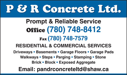 P &amp; R Concrete (780-748-8412) - Display Ad