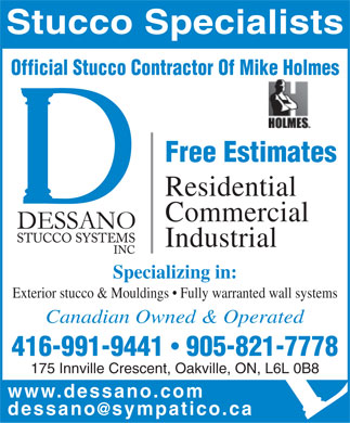 Dessano Stucco Systems Inc (905-821-7778) - Display Ad