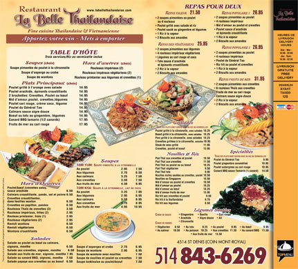 La Belle Thailandaise (514-843-6269) - Menu