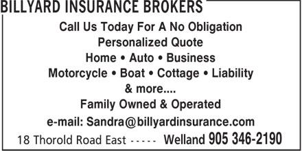 Billyard Insurance Brokers (905-346-2190) - Display Ad