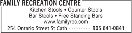Family Recreation Centre (905-641-0841) - Annonce illustrée - Kitchen Stools • Counter Stools Bar Stools • Free Standing Bars www.familyrec.com Kitchen Stools • Counter Stools Bar Stools • Free Standing Bars www.familyrec.com