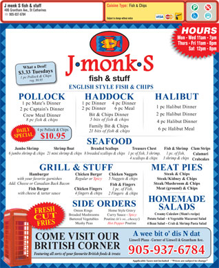 J monk S fish & stuff (905-937-6784) - Menu