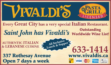 Vivaldi's (506-633-1414) - Display Ad