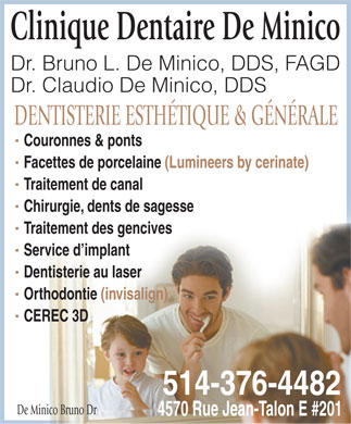 De Minico Bruno Dr (514-376-4482) - Display Ad