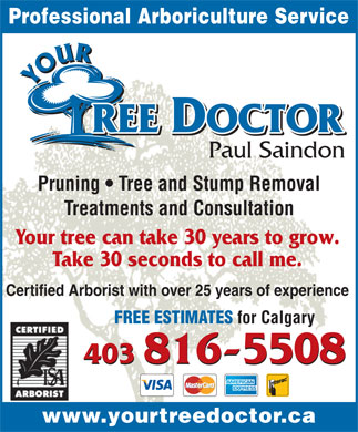 Your Tree Doctor (403-816-5508) - Annonce illustrée
