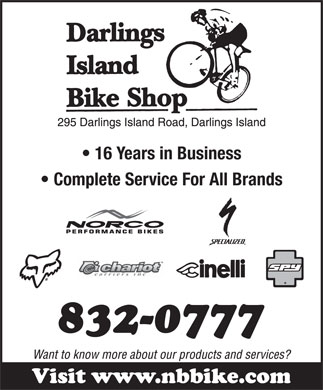 Darlings Island Bike Shop (506-832-0777) - Display Ad - 16 Years in Business Complete Service For All Brands