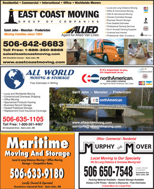 All World Moving & Storage/North American Van Lines Canada (506-609-2415) - Display Ad