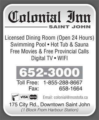 Colonial Inn Saint John (506-652-3000) - Annonce illustr&eacute;e