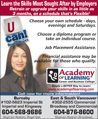 Academy Of Learning (604-568-9686) - Display Ad
