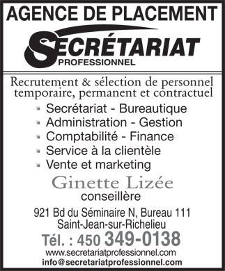Secr&eacute;tariat Professionnel (450-349-0138) - Annonce illustr&eacute;e