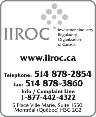 Investment Industry Regulatory Organization of Canada (514-878-2854) - Display Ad