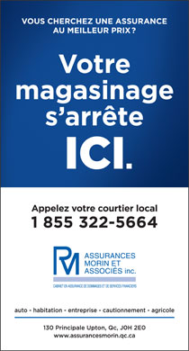 Assurances Morin & Associés Inc (1-855-322-5664) - Display Ad