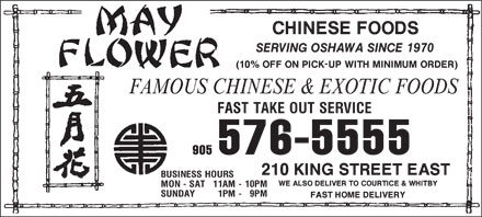 May Flower Chinese Foods (905-576-5555) - Annonce illustrée