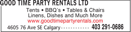 Good Time Party Rentals Ltd (403-291-0686) - Annonce illustrée