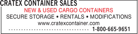 Cratex Container Sales & Rentals (1-800-665-9651) - Display Ad