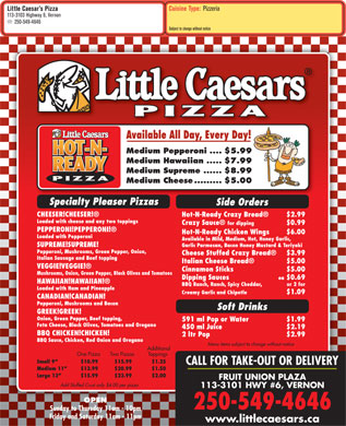 Little Caesar's Pizza (250-549-4646) - Menu