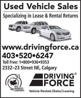 Driving Force Vehicle Rentals Sales & Leasing (403-798-0943) - Display Ad