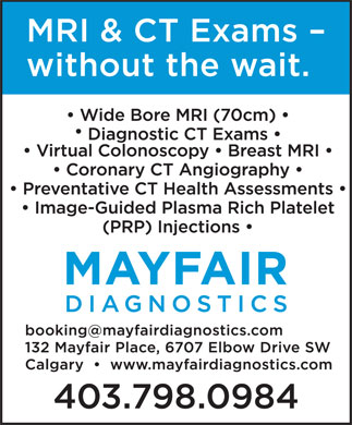 Mayfair Diagnostics (403-777-4674) - Display Ad