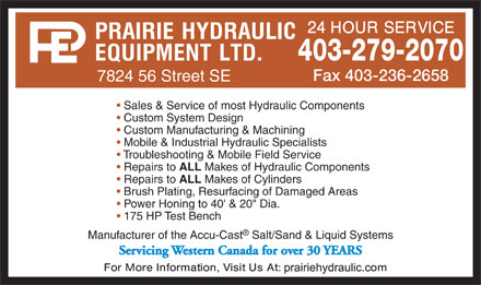 Prairie Hydraulic Equipment Ltd (403-279-2070) - Display Ad