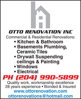 OttoRenovation Inc (204-990-5899) - Display Ad