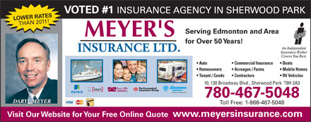 Meyer's Insurance Ltd (780-400-0100) - Display Ad