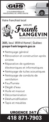 Langevin Frank Inc/Gus (418-871-7903) - Annonce illustr&eacute;e