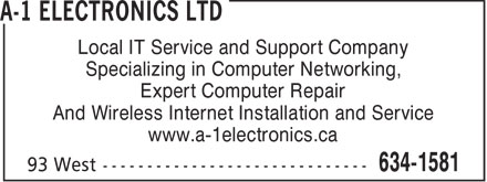 A-1 Electronics Ltd (709-634-1581) - Annonce illustr&eacute;e - Local IT Service and Support Company Specializing in Computer Networking, Expert Computer Repair And Wireless Internet Installation and Service www.a-1electronics.ca