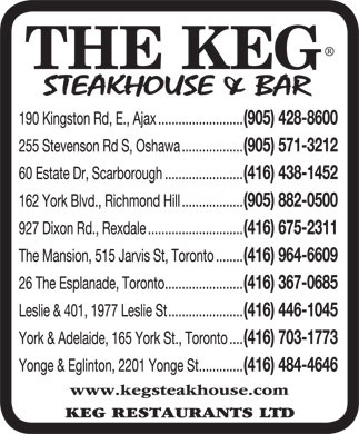 Keg Restaurants Ltd (905-428-8600) - Display Ad