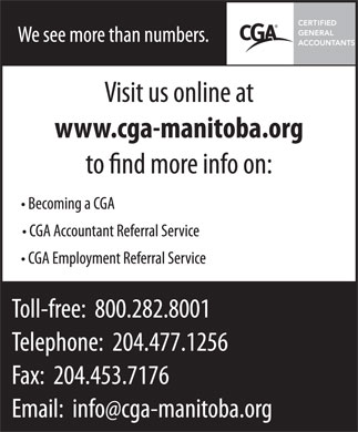 Certified General Accountants Association of Manitoba The (204-477-1256) - Annonce illustrée