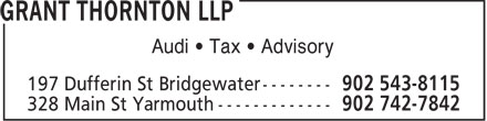 Grant Thornton LLP (902-543-8115) - Display Ad - Audi • Tax • Advisory