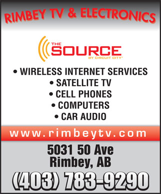 Rimbey TV & Electronics (1998) (403-783-9291) - Display Ad - WIRELESS INTERNET SERVICES SATELLITE TV CELL PHONES COMPUTERS CAR AUDIO www.rimbeytv.com 5031 50 Ave Rimbey, AB (403) 783-9290