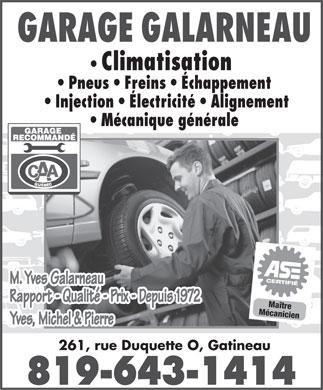 Garage galarneau 261 rue duquette o gatineau qc for Garage ad climatisation