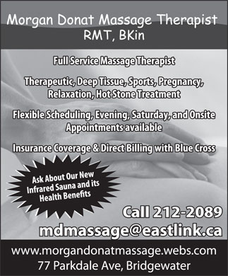 Morgan Donat Massage Therapist (902-212-2089) - Annonce illustrée