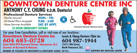Downtown Denture Centre Inc (604-695-1603) - Display Ad